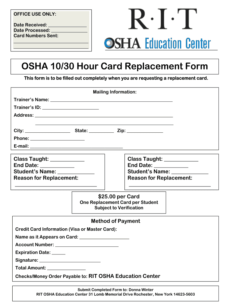 Osha 30 Card Template - Fill Online, Printable, Fillable With Osha 10 Card Template