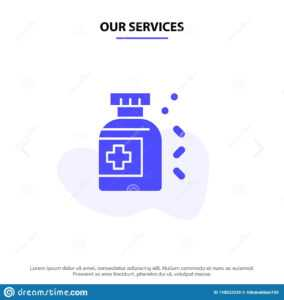 Our Services Bottle, Medicine, Tablet Solid Glyph Icon Web throughout Medication Card Template