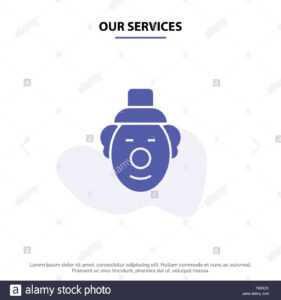 Our Services Joker, Clown, Circus Solid Glyph Icon Web Card with Joker Card Template