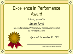 Outstanding Excellence In Performance Awards Certificate pertaining to Star Performer Certificate Templates
