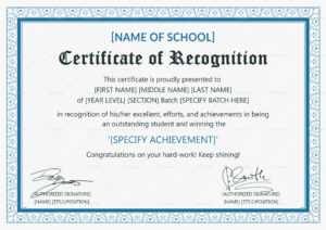 Outstanding Student Recognition Certificate Template inside Certificate Of Recognition Word Template