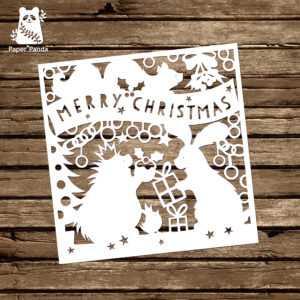Papercut Diy Design Template – 'woodland Friends Christmas throughout Diy Christmas Card Templates