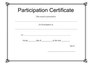 Participation Certificate Templates Free Download inside Free Templates For Certificates Of Participation