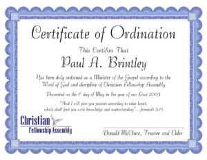 Pastoral Ordination Certificatepatricia Clay – Issuu for Certificate Of Ordination Template