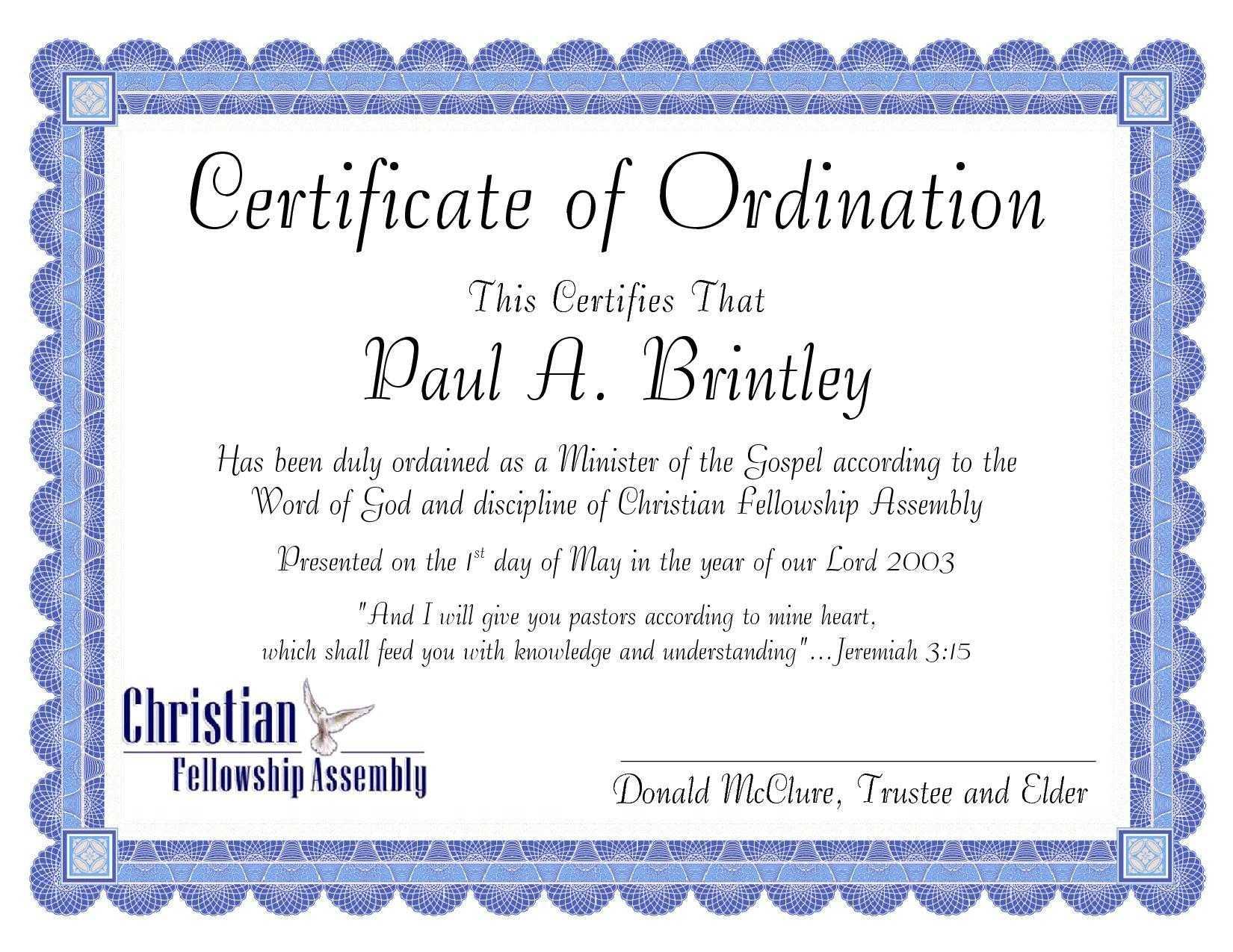Pastoral Ordination Certificatepatricia Clay - Issuu For Certificate Of Ordination Template