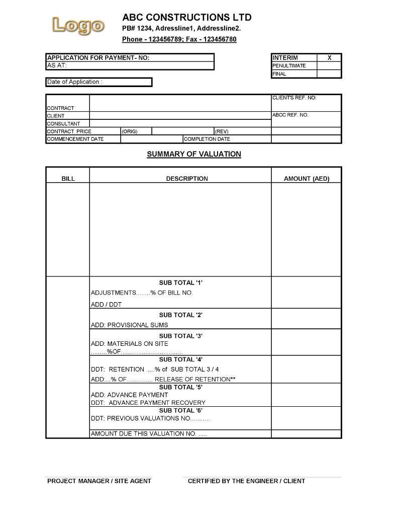 Payment Application Format For Construction Companies In Certificate Of Payment Template