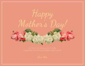 Peach Happy Mother's Day Card Template with regard to Mothers Day Card Templates