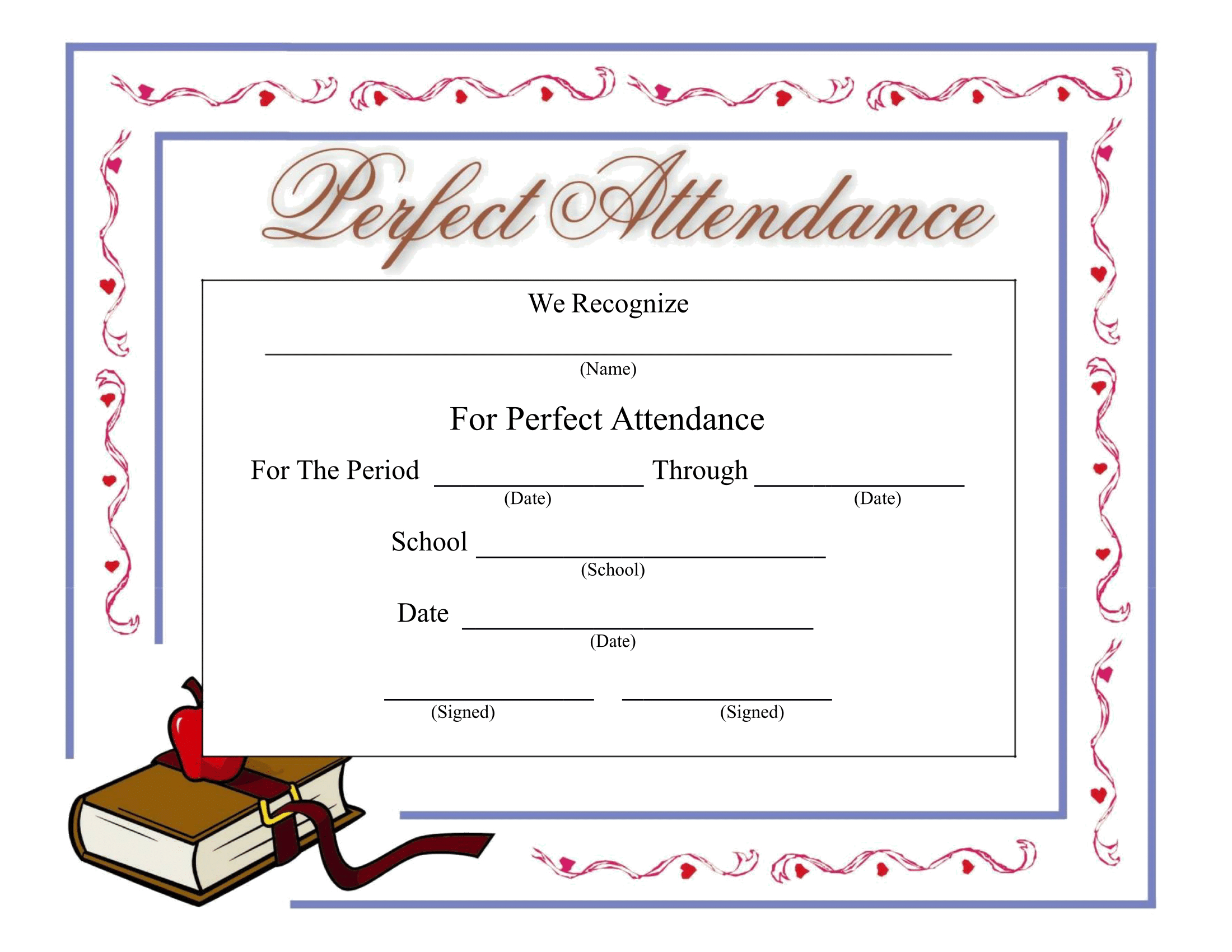 Perfect Attendance Certificate - Download A Free Template For Perfect Attendance Certificate Free Template