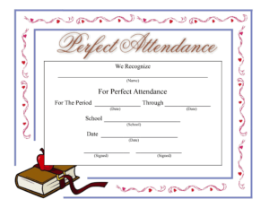 Perfect Attendance Certificate – Download A Free Template within Attendance Certificate Template Word