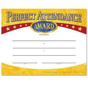 Perfect Attendance Yellow Gold Foil-Stamped Certificates with Perfect Attendance Certificate Free Template