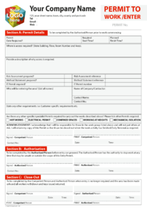 Permit To Work Template For Carbonless Printing From £40 with regard to Electrical Isolation Certificate Template