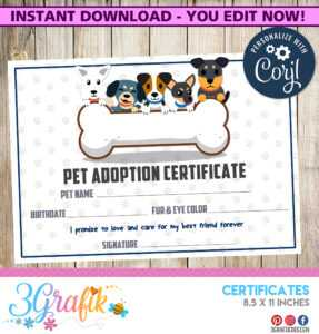 Pet Adoption – Certificate – Printable intended for Pet Adoption Certificate Template