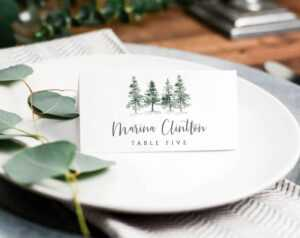 Pine Place Card Template, Winter Place Cards Template, Printable Wedding  Place Cards, Winter Escort Cards, Place Card Wedding, Place Cards with Christmas Table Place Cards Template