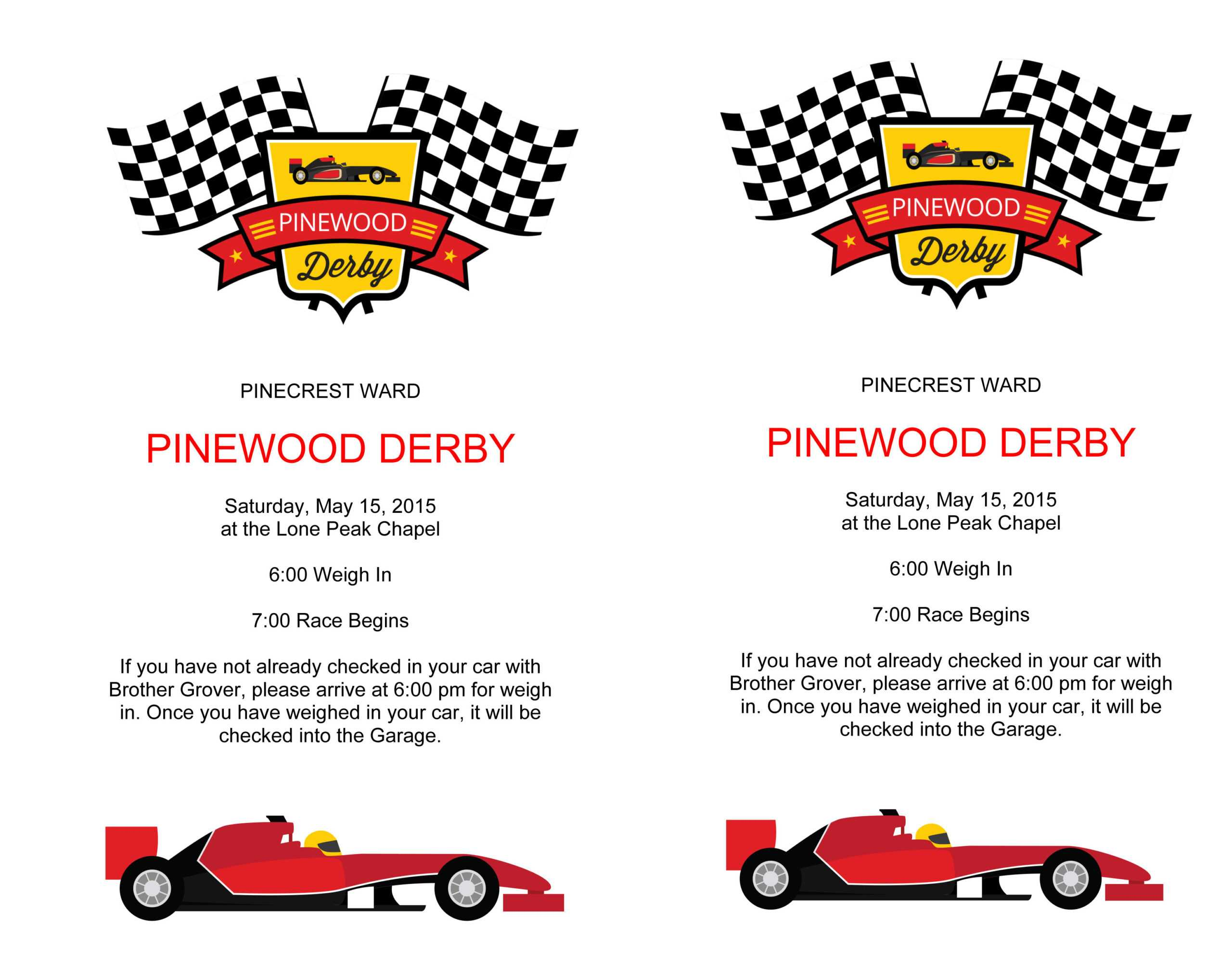 Pinewood Derby Flyers – The Gospel Home In Pinewood Derby Certificate Template