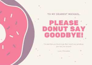 Pink Confetti Donut Farewell Card – Templatescanva throughout Goodbye Card Template