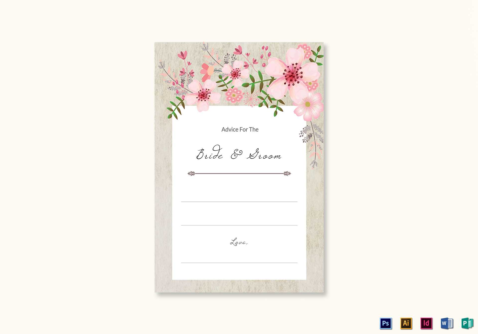 Pink Floral Wedding Advice Card Template Regarding Marriage Advice Cards Templates