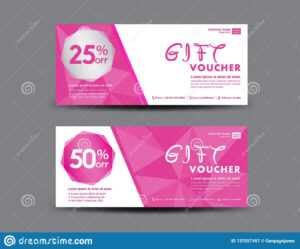 Pink Gift Voucher Template, Coupon Design, Certificate for Pink Gift Certificate Template
