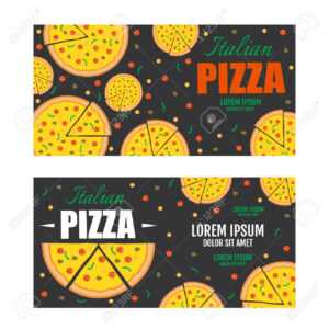 Pizza Flyer Vector Template. Two Pizza Banners. Gift Voucher for Pizza Gift Certificate Template