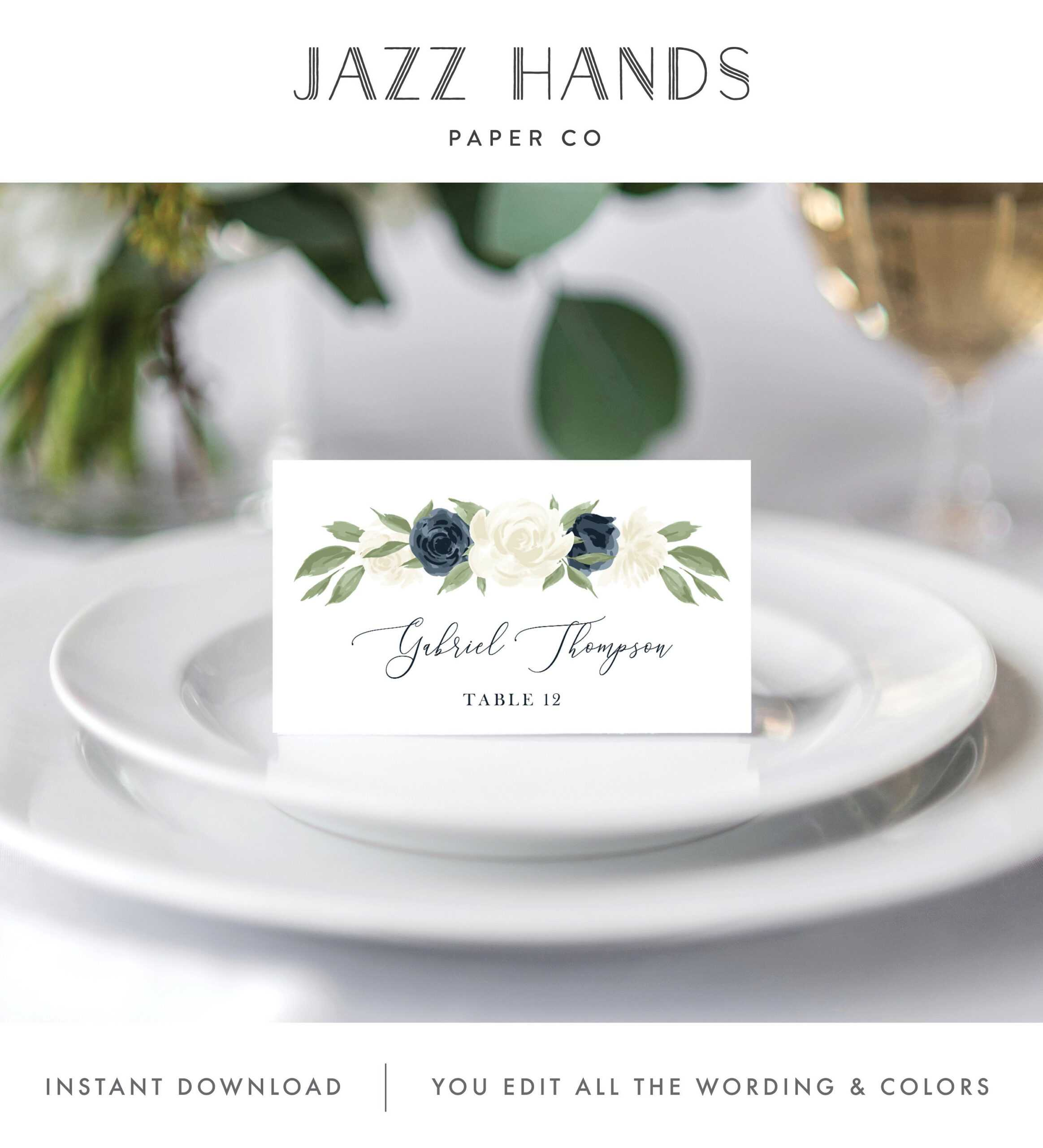 Place Card Template, Escort Card Template, Printable Wedding Throughout Place Card Setting Template