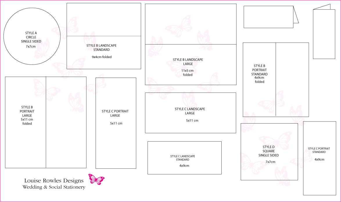Place Cards Sizes & Layouts » Bespoke Wedding Stationery Inside Wedding Card Size Template