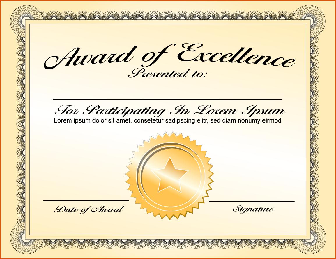 Png Certificates Award Transparent Certificates Award In Award Of Excellence Certificate Template