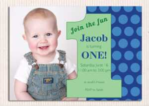 Polka Dot Blue First Birthday Photo Invitations – Free with regard to First Birthday Invitation Card Template