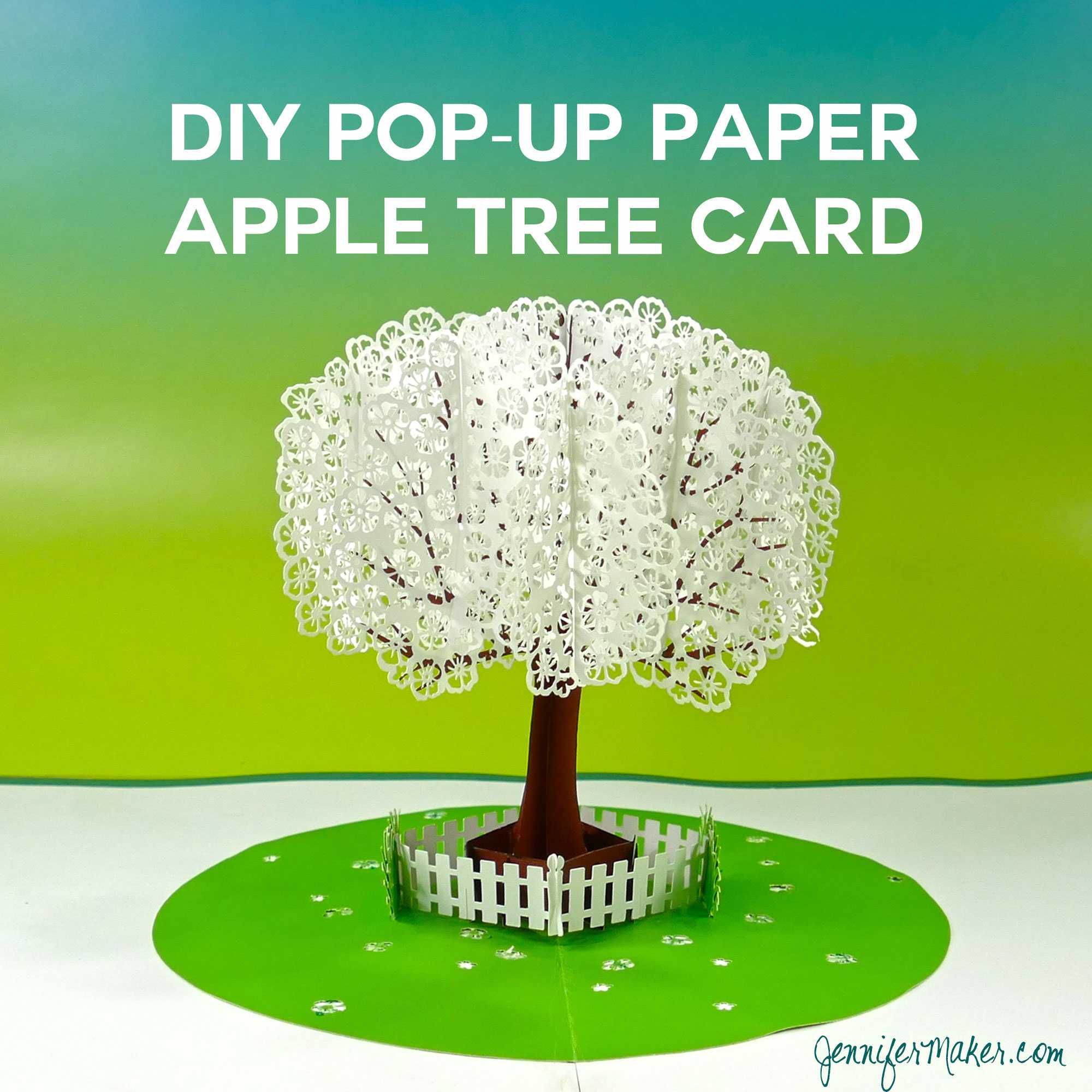 Pop Up Paper Apple Tree Card (3D Sliceform) - Jennifer Maker For Pop Up Tree Card Template