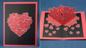Pop Up Valentine Cards Diy | Vallentine Gift Card for Pixel Heart Pop Up Card Template