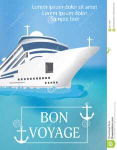Poster Template Cruise Ship With «Bon Voyage» Headline for Bon Voyage Card Template