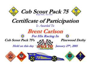Ppt – Certificate Of Participation Powerpoint Presentation throughout Pinewood Derby Certificate Template