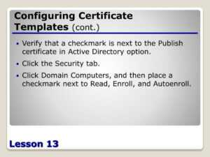 Ppt – Configuring Active Directory Certificate Services regarding Active Directory Certificate Templates