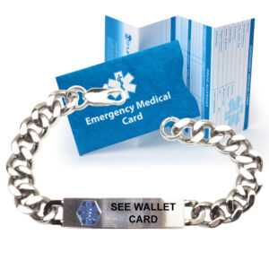 """Pre-Engraved """"see Wallet Card"""" Traditional Curb Link Medical Alert  Bracelet. Choose From A Variety Of Sizes! pertaining to Medical Alert Wallet Card Template"""
