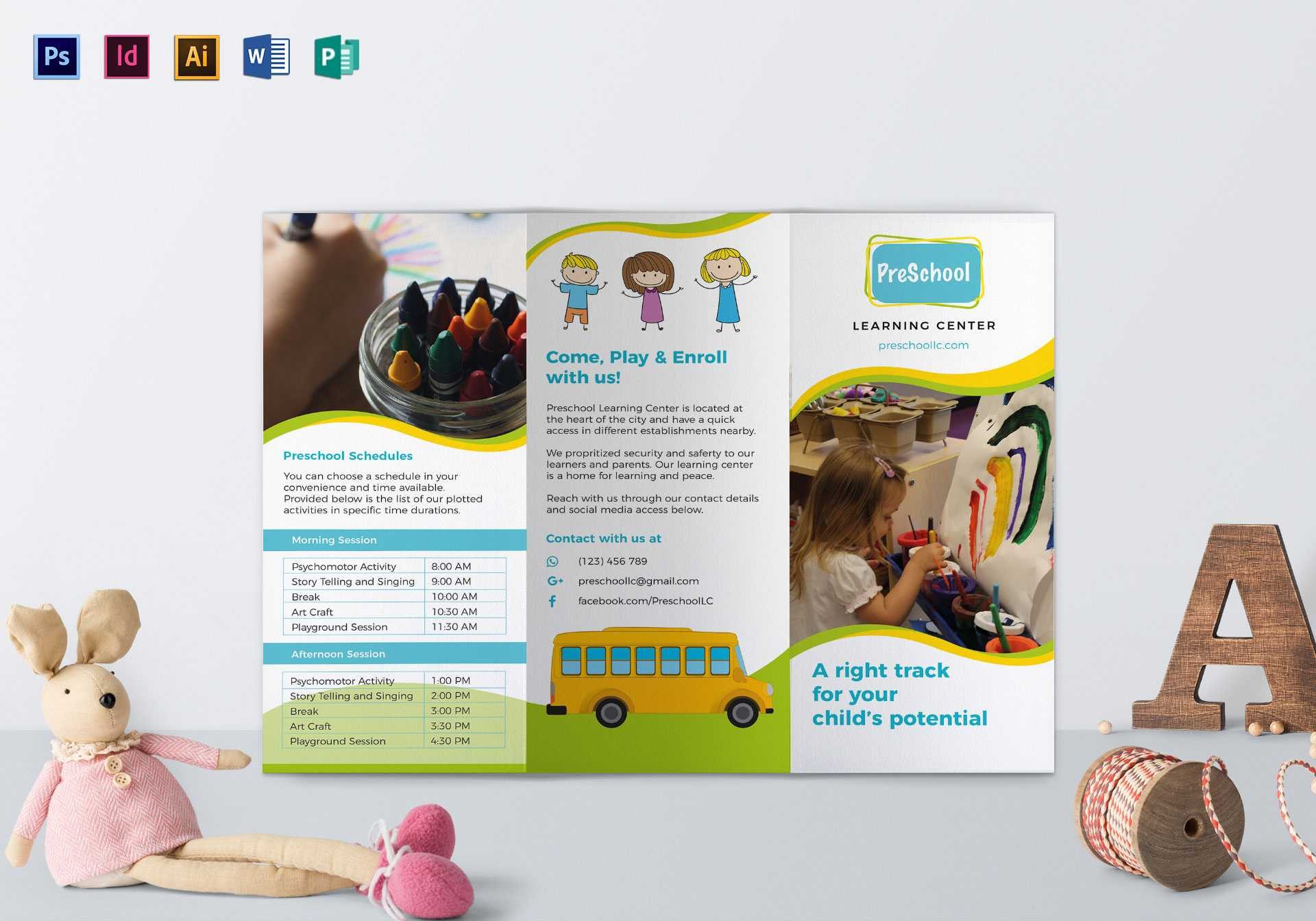 Pre School Brochure Template Throughout Play School Brochure Templates