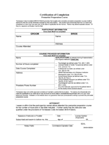 Premarital Preparation Course Tn – Fill Online, Printable within Premarital Counseling Certificate Of Completion Template