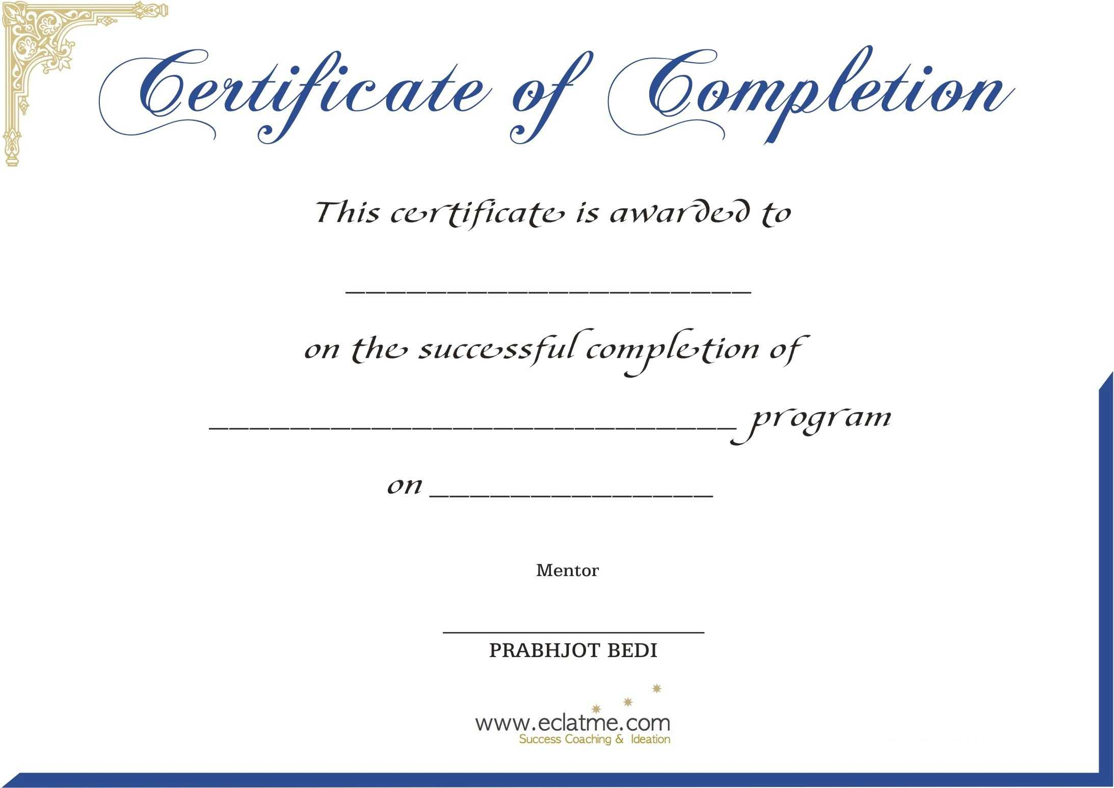 Premium Blank Certificate Of Completion Flyers : V M D Intended For Premarital Counseling Certificate Of Completion Template
