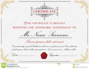 Premium Certificate Template Design Stock Vector regarding Small Certificate Template