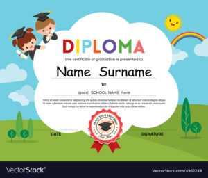 Preschool Elementary School Kids Diploma Template Regarding Preschool Graduation Certificate Template Free