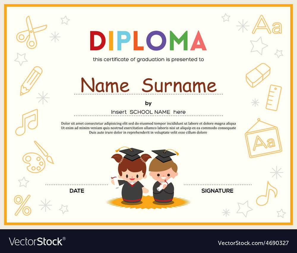 Preschool Kids Diploma Certificate Template Regarding Preschool Graduation Certificate Template Free