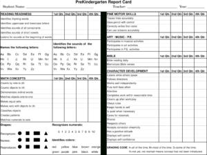 Preschool Report Card Main Image – Preschool Progress Report with Character Report Card Template
