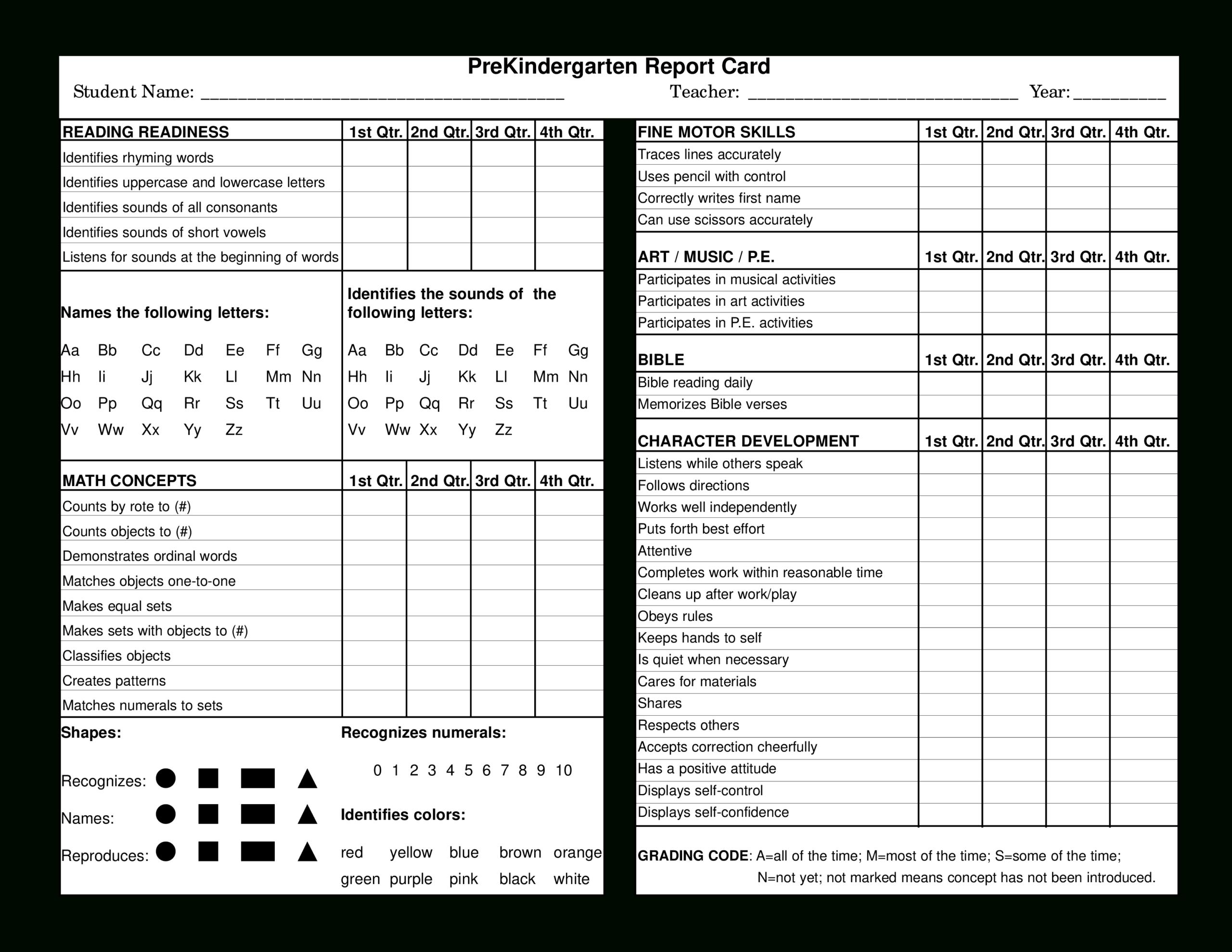 Preschool Report Card | Templates At Allbusinesstemplates For Character Report Card Template