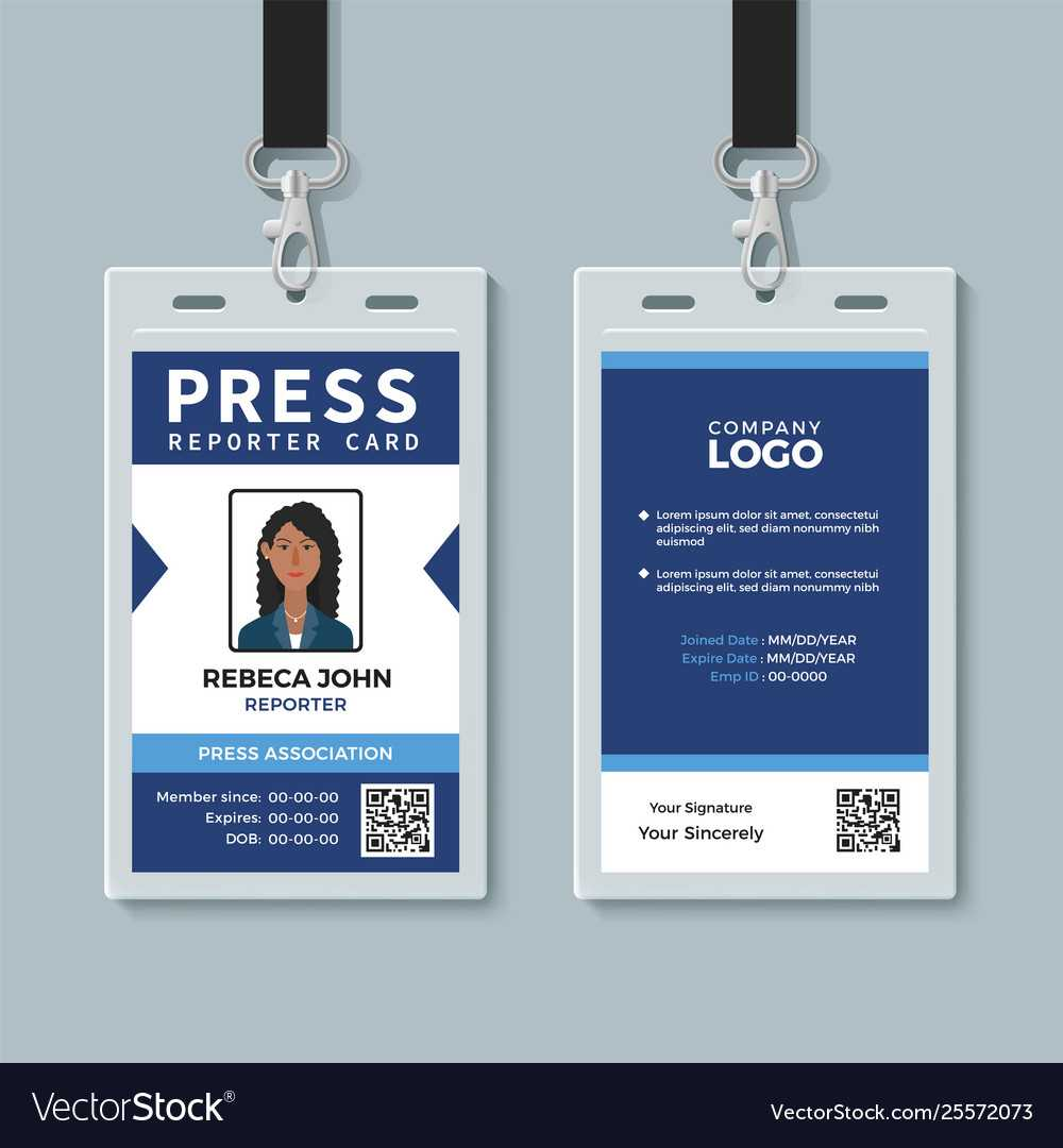 Press Reporter Id Card Template For Media Id Card Templates