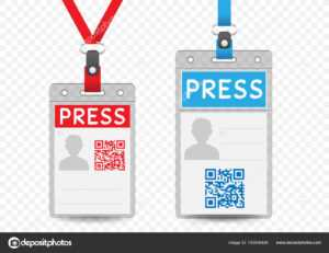 Press Vertical Badge Template — Stock Vector © Romvo79 intended for Media Id Card Templates