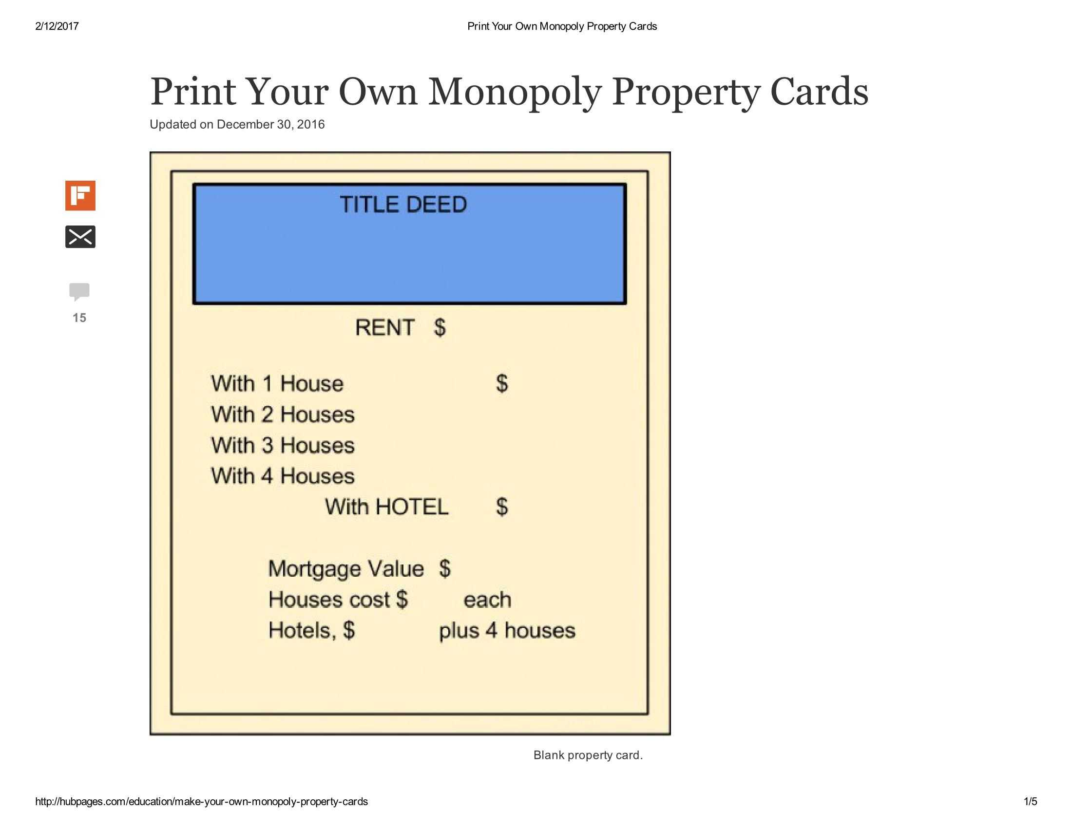 Print Your Own Monopoly Property Cards Document Pages 1 - 5 Regarding Monopoly Property Card Template