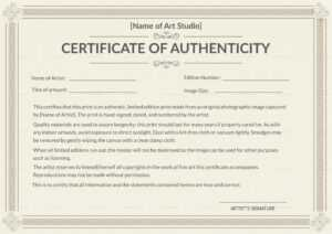 Printable Authenticity Certificate Template with regard to Certificate Of Authenticity Template