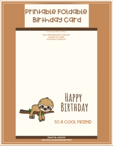 Printable Birthday Card – Friend with Foldable Birthday Card Template