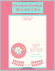 Printable Birthday Card – Mom pertaining to Foldable Birthday Card Template
