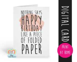 Printable Birthday Card Template Funny Birthday Card Instant pertaining to Foldable Birthday Card Template
