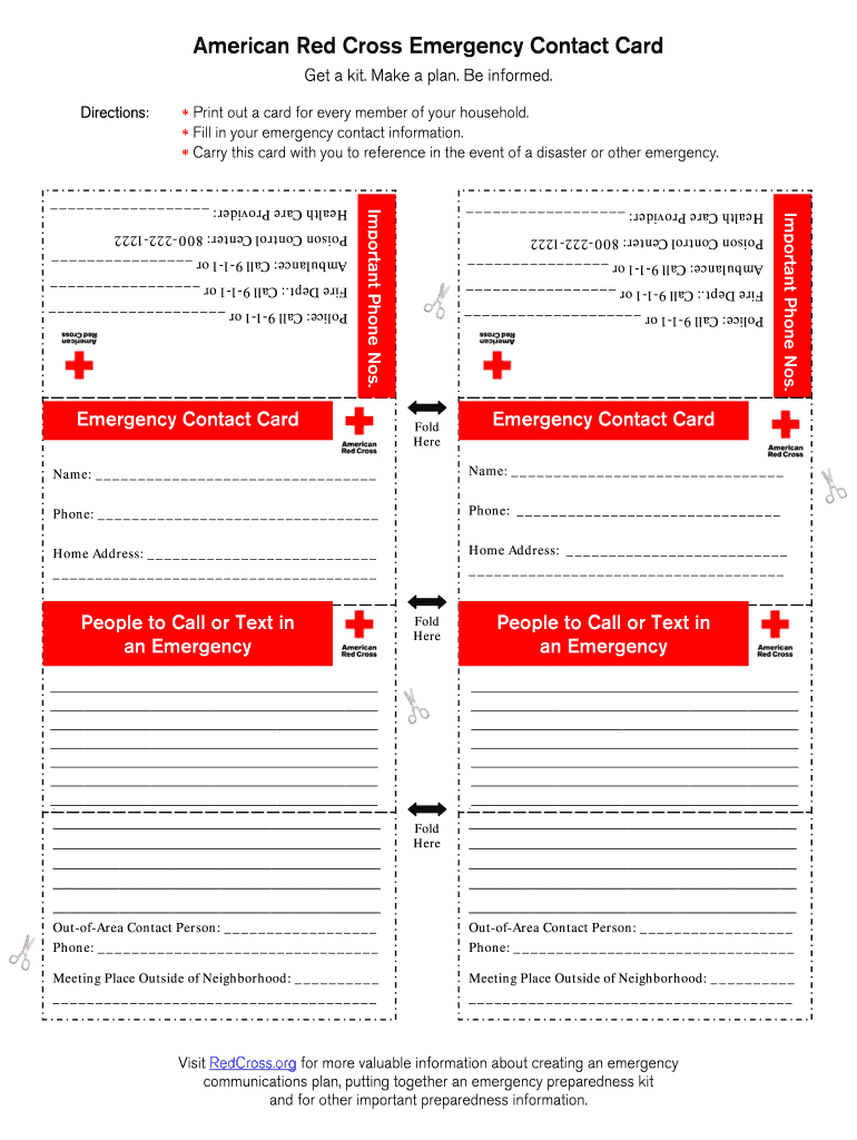 Printable Emergency Card Template - Fill Online, Printable Within In Case Of Emergency Card Template
