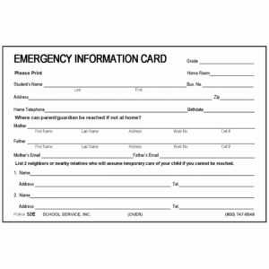 Printable Emergency Contact Cards   Template Business Psd for In Case Of Emergency Card Template