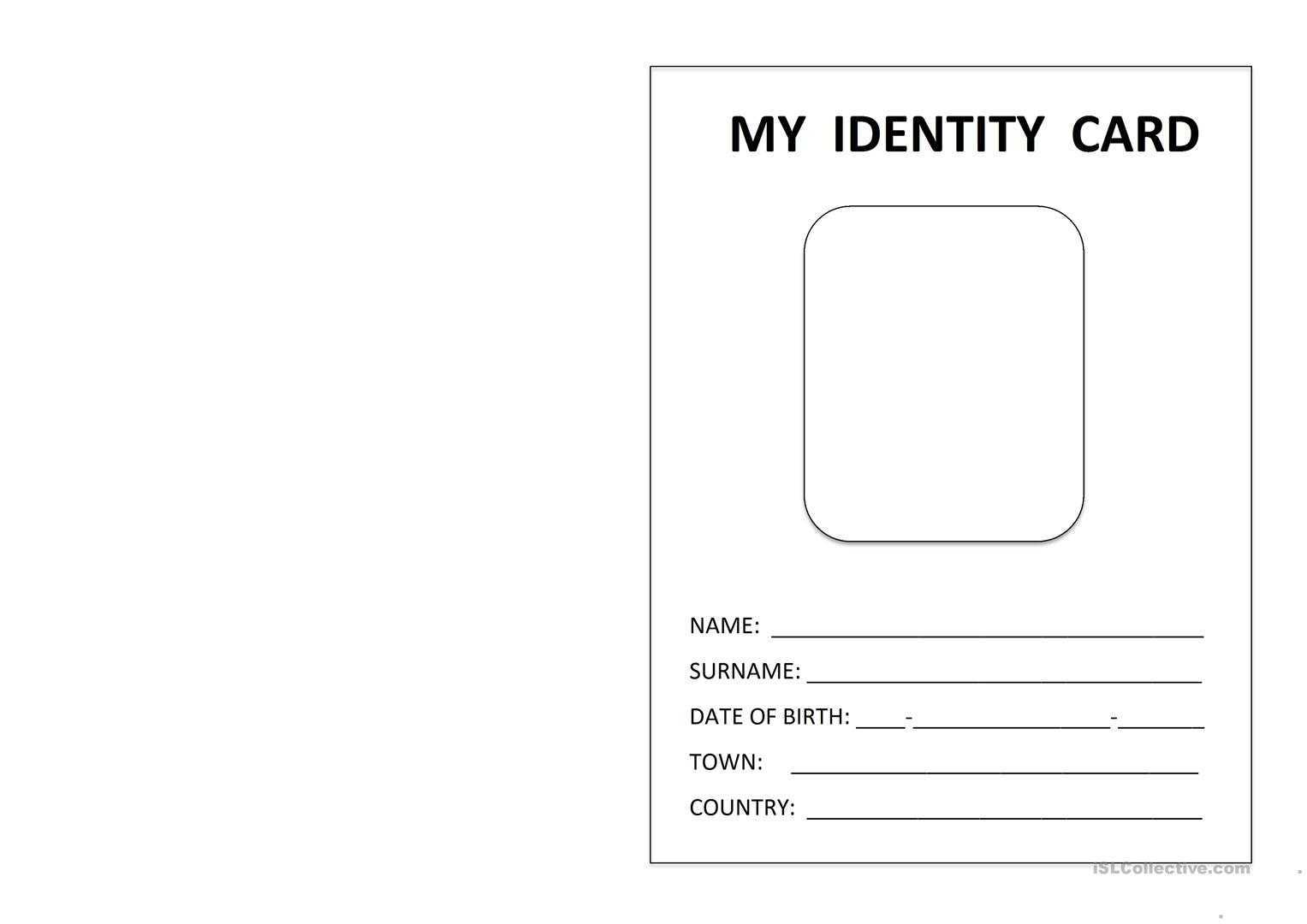 Printable Id Card - English Esl Worksheets For Distance Within Id Card Template For Kids